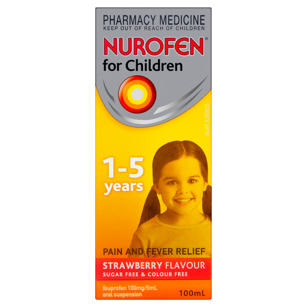 Nurofen for Children Pain and Fever Relief Strawberry 1 - 5 Years 100mL