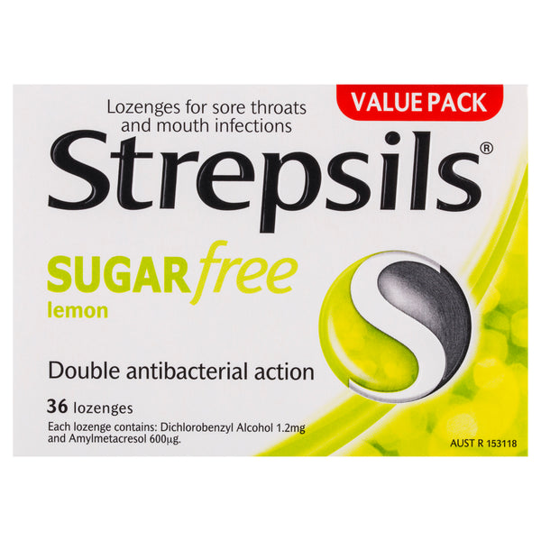 Strepsils Sugar Free Throat Lozenges Lemon Pain Relief 36 Pack