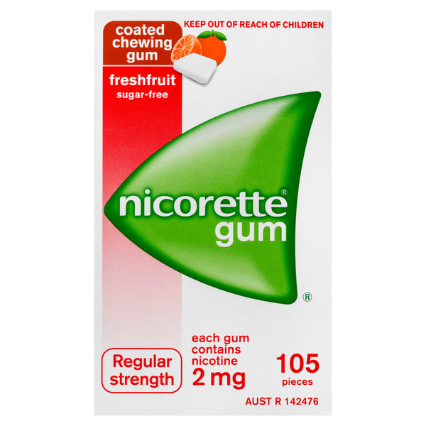 Nicorette Gum Regular Strength Coated Freshfruit 2mg 105 Pack