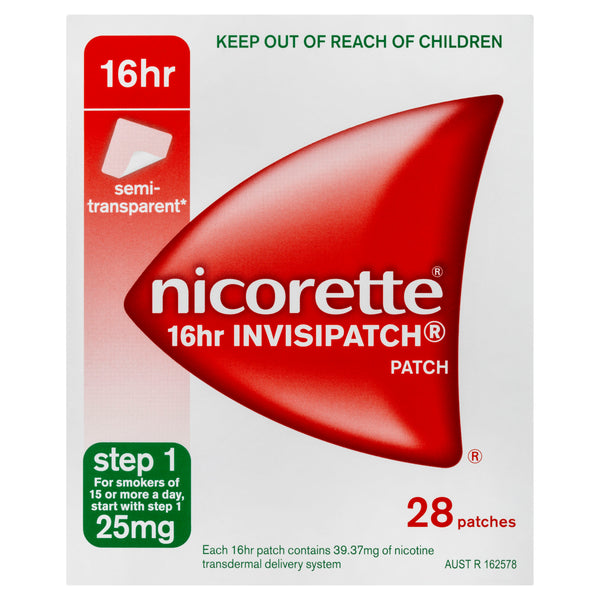 Nicorette 16hr Invisipatch Patches Step 1 25mg 28 Pack