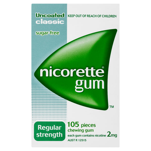 Nicorette Gum Regular Strength Uncoated Classic 2mg 105 Pack