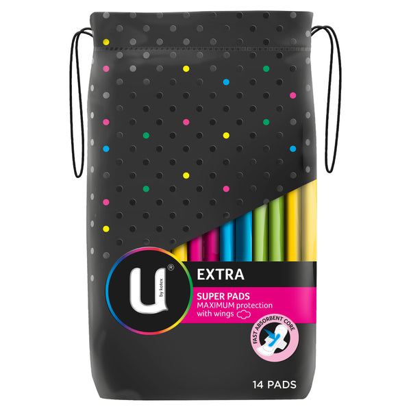 U by Kotex Super Extra Pads With Wings, 14 Pads