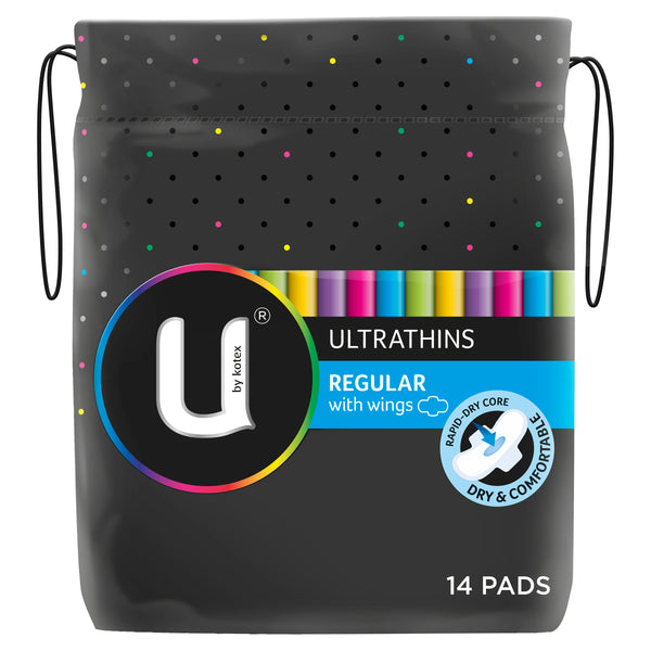 U by Kotex Regular Ultrathins With Wings, 14 Pads