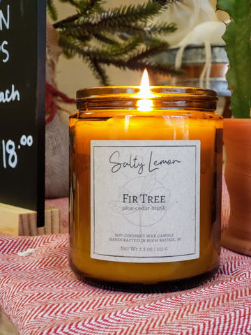 Fir Tree Soy-Coconut Candle- 9 oz Amber Jar