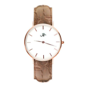 Bathurst - Montre en or rose avec cuir marron
