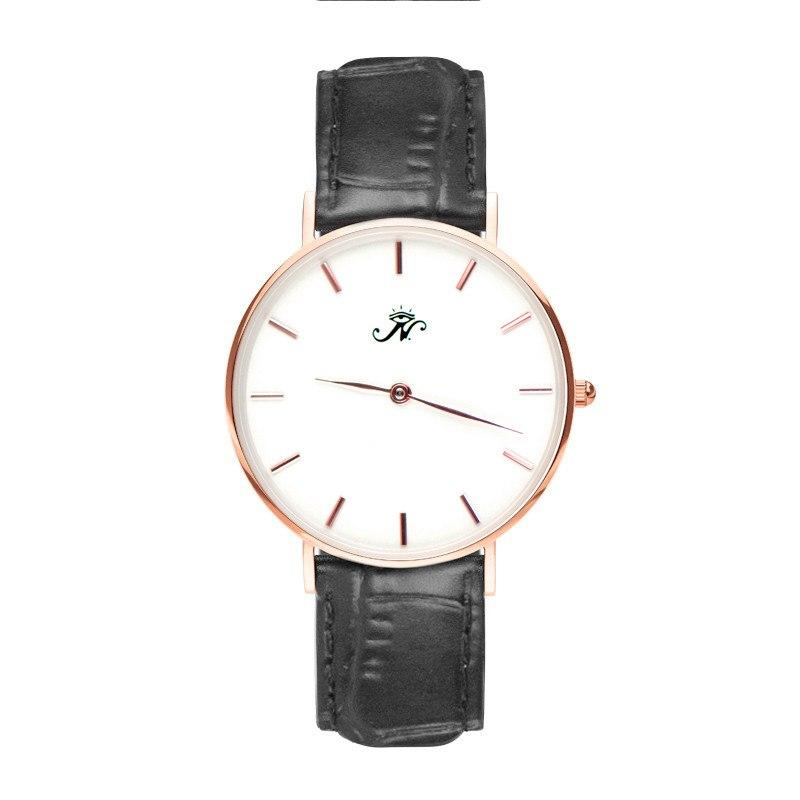 Kennedy - Designer Watch Timepiece in Rose Gold with Black Alligator Style Genuine Leather and Baton Style Face