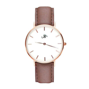 Ossington - Designer Watch Timepiece in Rose Gold with Genuine Brown Leather and Baton Style Face