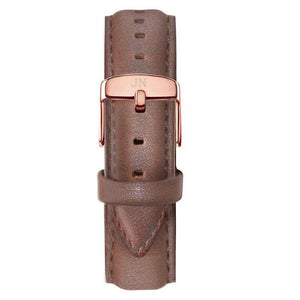 Ossington - Designer Watch Timepiece in Rose Gold with Genuine Brown Leather and Baton Style Face - Strap