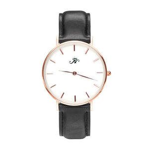 Bayview - Designer Watch Timepiece in Rose Gold with Genuine Black Leather and Baton Style Face