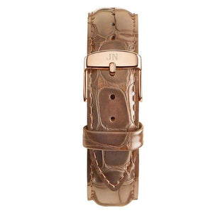 Dupont - Designer Watch Timepiece in Gold with Brown Alligator Style Genuine Leather and Baton Style Face - Strap