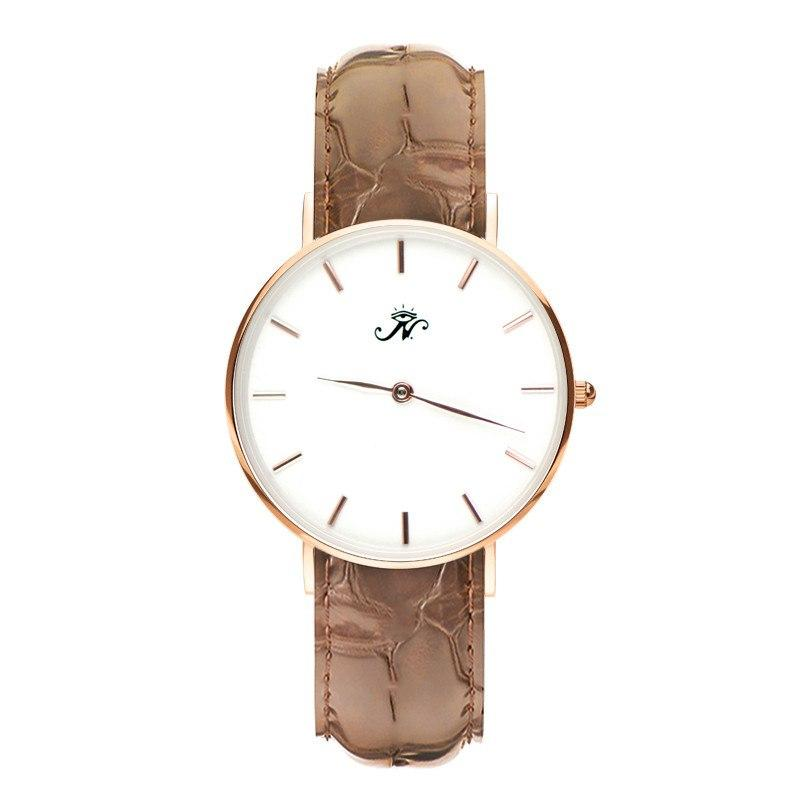 Dupont - Designer Watch Timepiece in Gold with Brown Alligator Style Genuine Leather and Baton Style Face