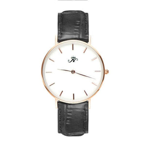 High Park - Designer Watch Timepiece in Gold with Black Alligator Style Genuine Leather and Baton Style Face