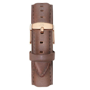 Islington - Designer Watch Timepiece in Gold with Genuine Brown Leather and Baton Style Face - Strap