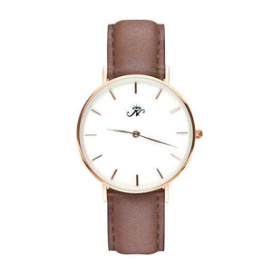 Islington - Designer Watch Timepiece in Gold with Genuine Brown Leather and Baton Style Face