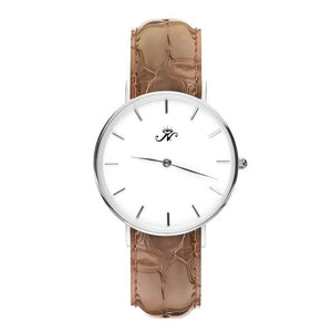 Victoria Park - Designer Watch Timepiece in Silver with Brown Alligator Style Genuine Leather and Baton Style Face