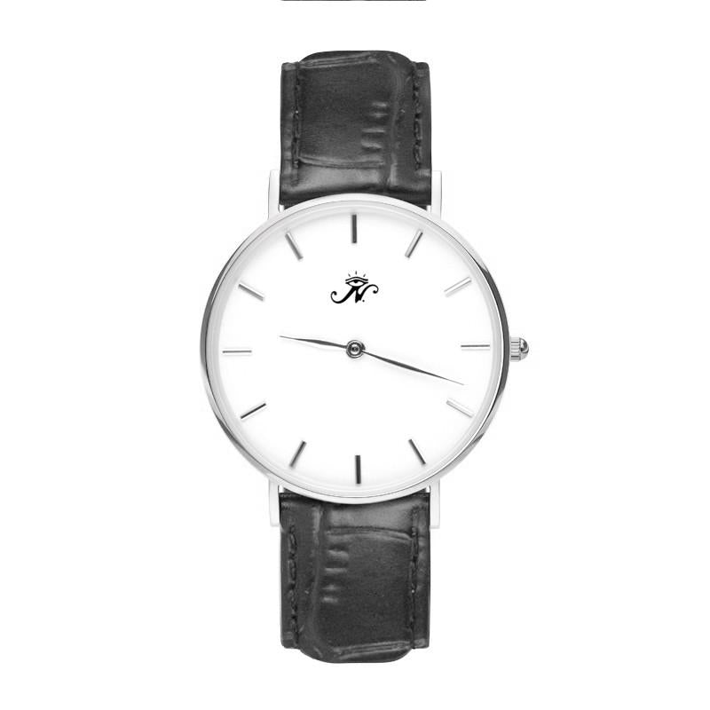 Broadview - Designer Watch Timepiece in Silver with Black Alligator Style Genuine Leather and Baton Style Face