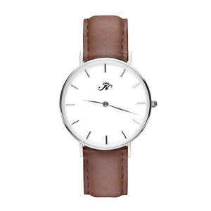Eglinton - Designer Watch Timepiece in Silver with Genuine Brown Leather and Baton Style Face