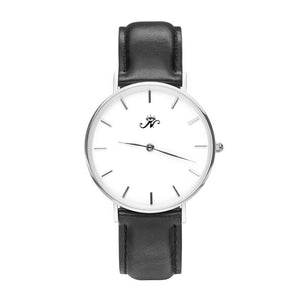Old Mill - Designer Watch Timepiece in Silver with Genuine Black Leather and Baton Style Face