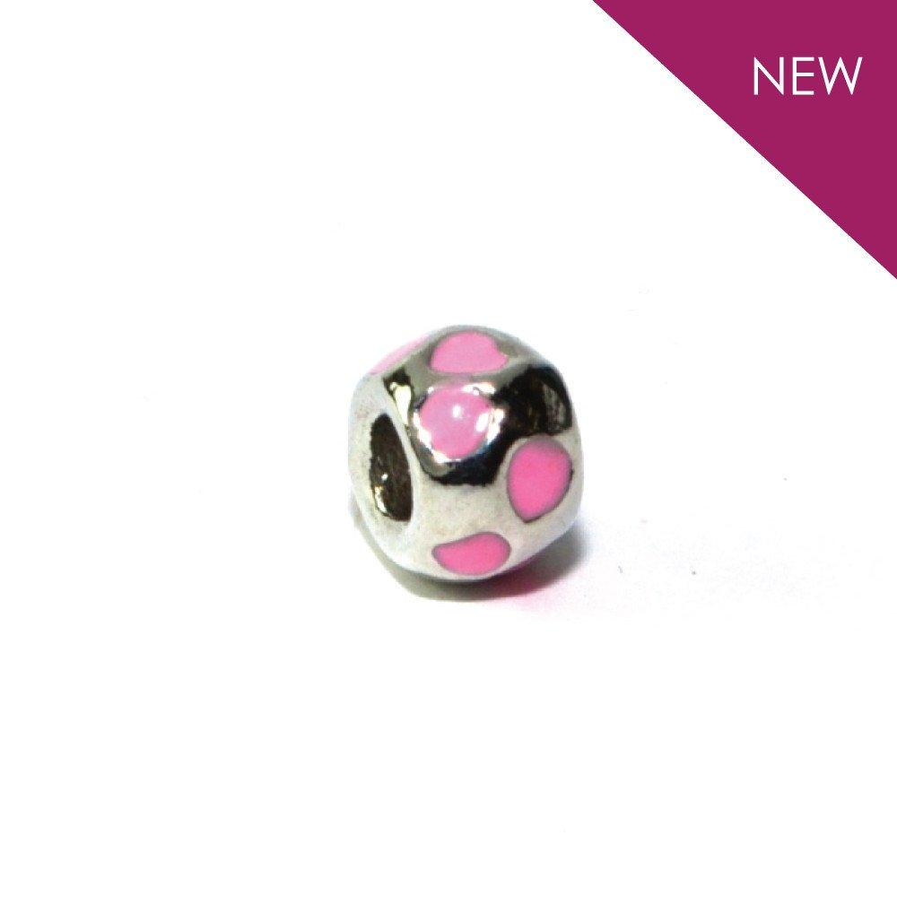 Kennedy - Silvertone Pink Heart Rhodium Filled Charm from IRIS