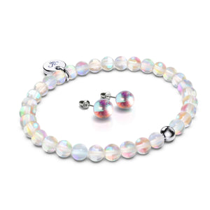 Rainbow Supernova | .925 Sterling Silver Galaxy Glass Gift Set | Bracelet and 8mm Stud Earrings