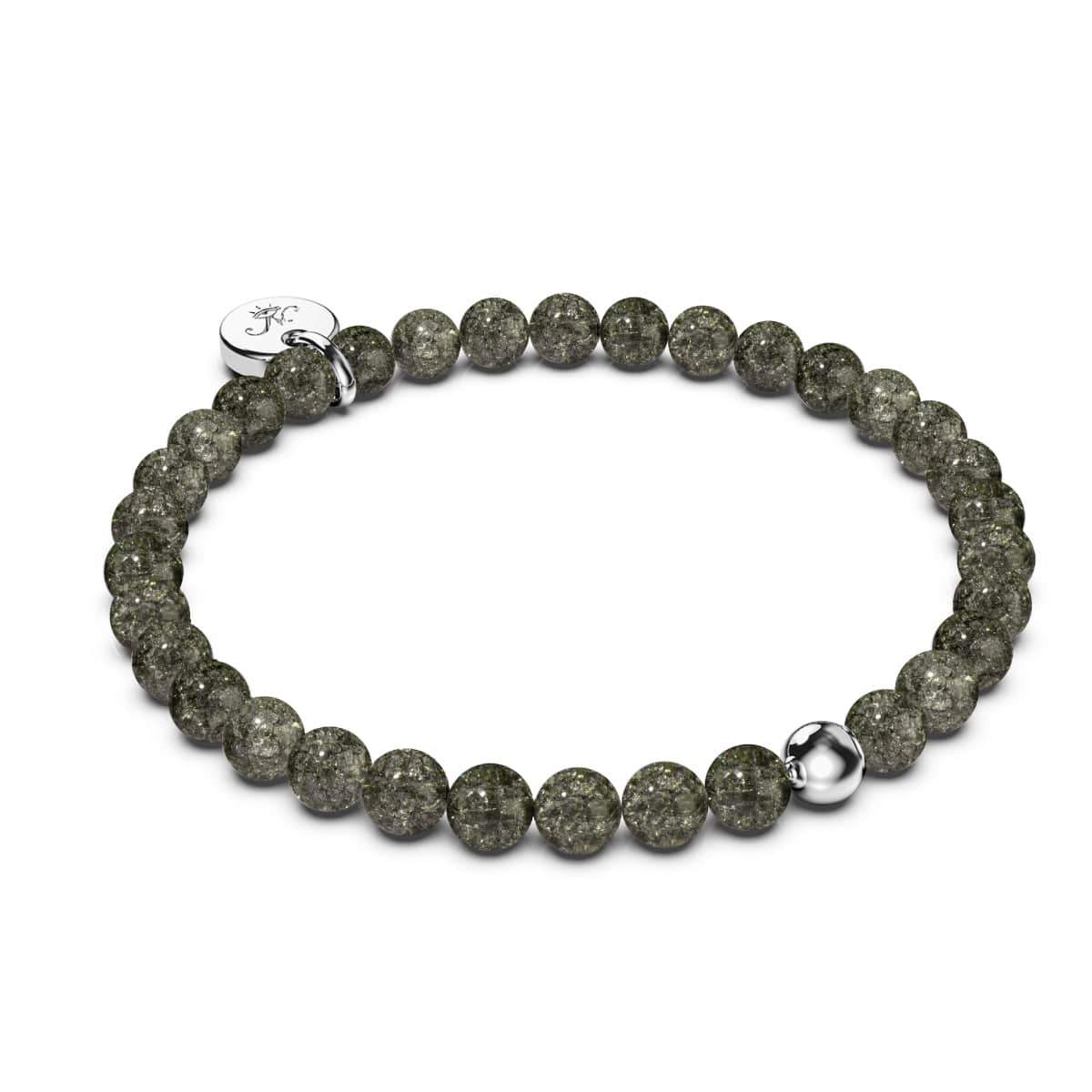 Charcoal | .925 Sterling Silver | Glitter Glass Bead Bracelet