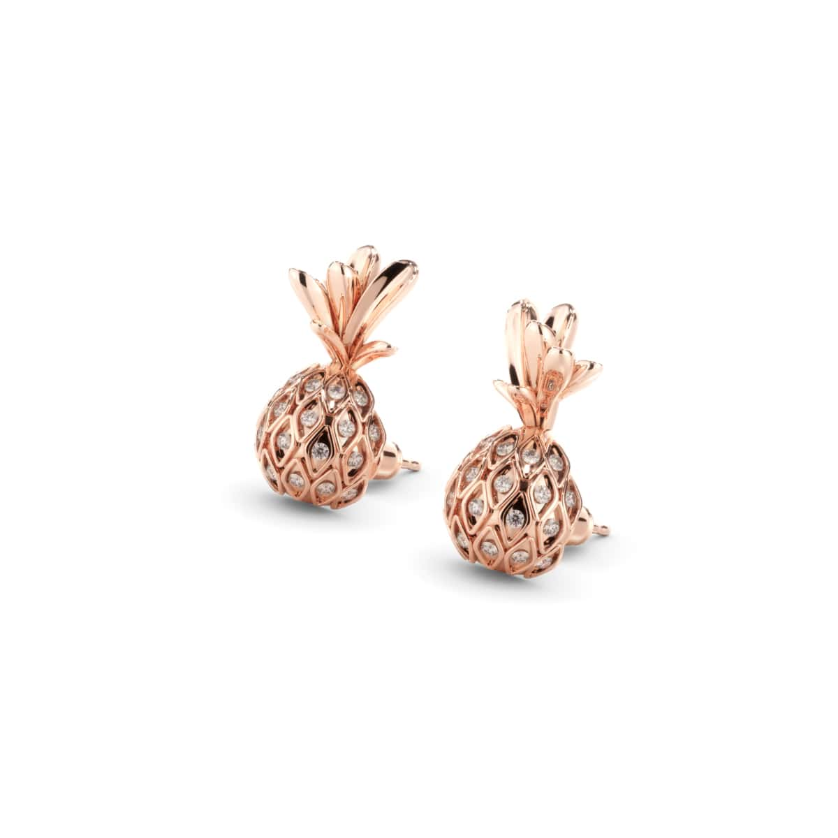 Pina Colada | Rose Gold Vermeil | CZ Diamond Pineapple Earrings