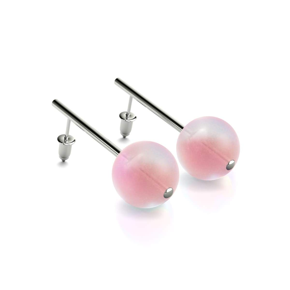 Pink | White Gold Vermeil | Mermaid Glass Drop Earrings