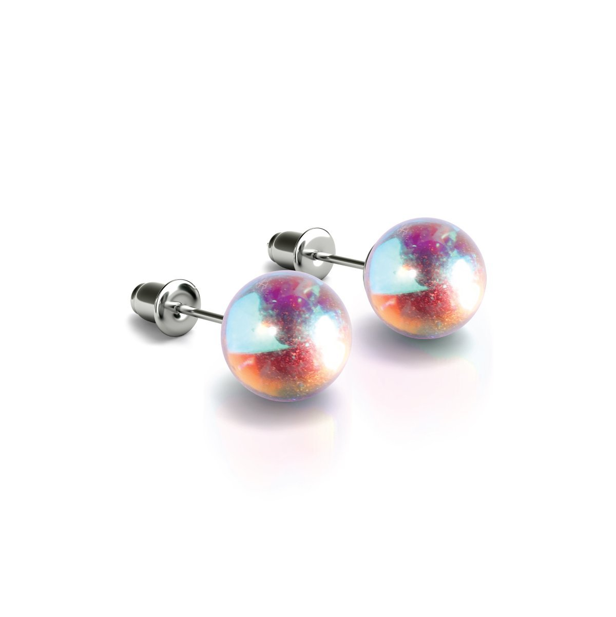 Rainbow Supernova | .925 Sterling Silver | Galaxy Glass Stud Earrings
