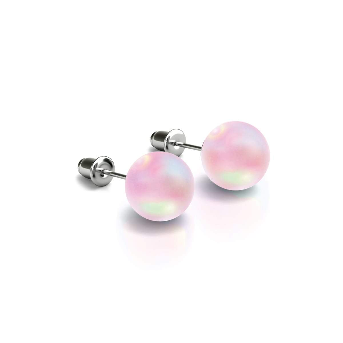 Pink | .925 Sterling Silver | Mermaid Glass Stud Earrings