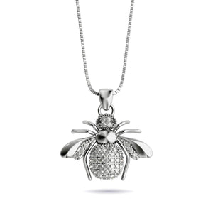 Queen | .925 Sterling Silver | Crystal Honeybee Infinity Clasp Necklace