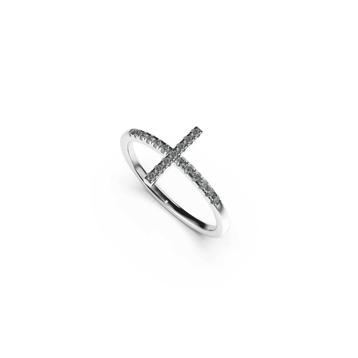 Blessed | 18k White Gold Vermeil | .925 Sterling Silver  | Cubic Zirconia Crystal Cross Ring