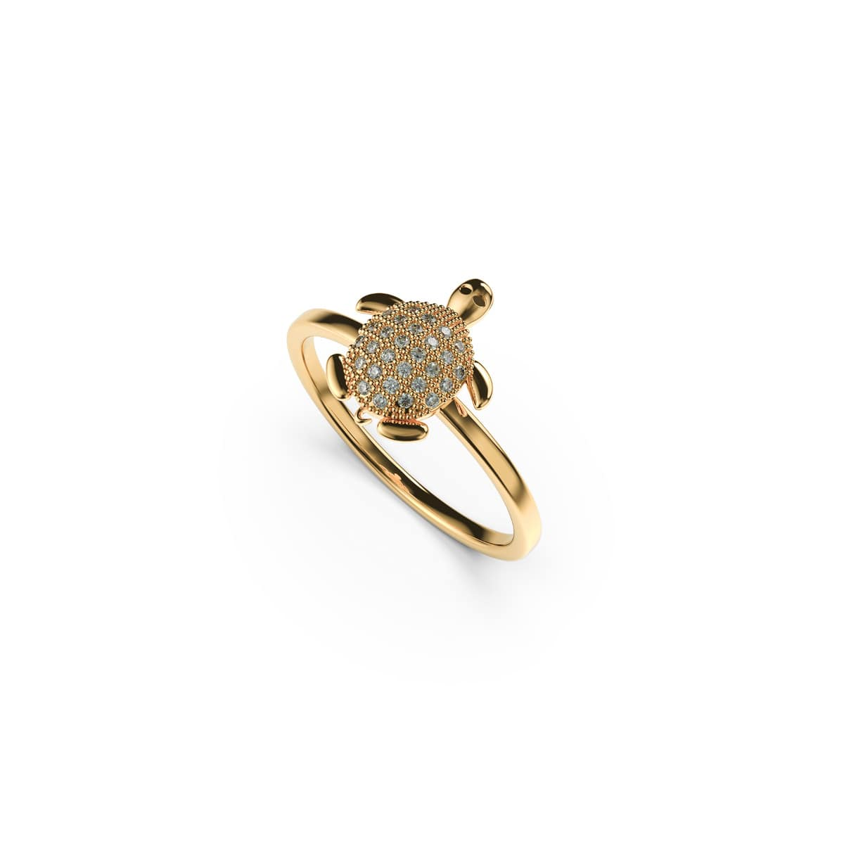 Tortuga | 18k Gold Vermeil | .925 Sterling Silver | Cubic Zirconia Crystal Sea Turtle Ring