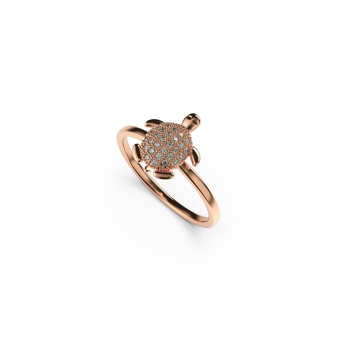 Tortuga | 18k Rose Gold Vermeil | .925 Sterling Silver | Cubic Zirconia Crystal Sea Turtle Ring