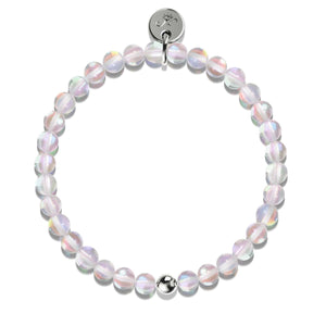 Cotton Candy Crystal | White Gold Vermeil | Mermaid Glass Bead Bracelet