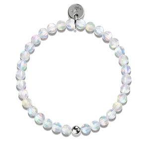 Unicorn White Crystal | .925 Sterling Silver | Mermaid Glass Bead Bracelet
