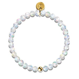 Unicorn White Crystal | Gold Vermeil | Mermaid Glass Bead Bracelet