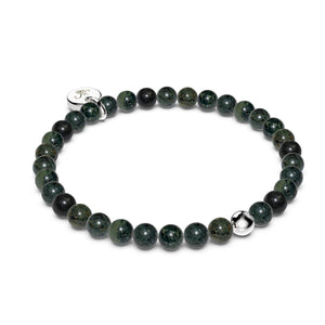 Midnight Green Jasper | .925 Sterling Silver | Healing Gemstone Bead Bracelet