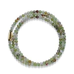 Green Agate | .925 Sterling Gold Vermeil | Gemstone Wrap