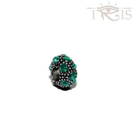Liz - Emerald Crystal Coral Silver Filled Charm from IRIS