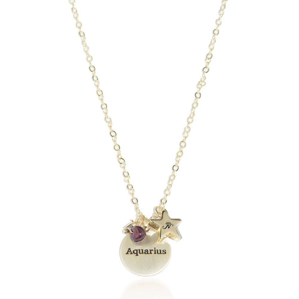 Aquarius gold zodiac crystal garnet necklace