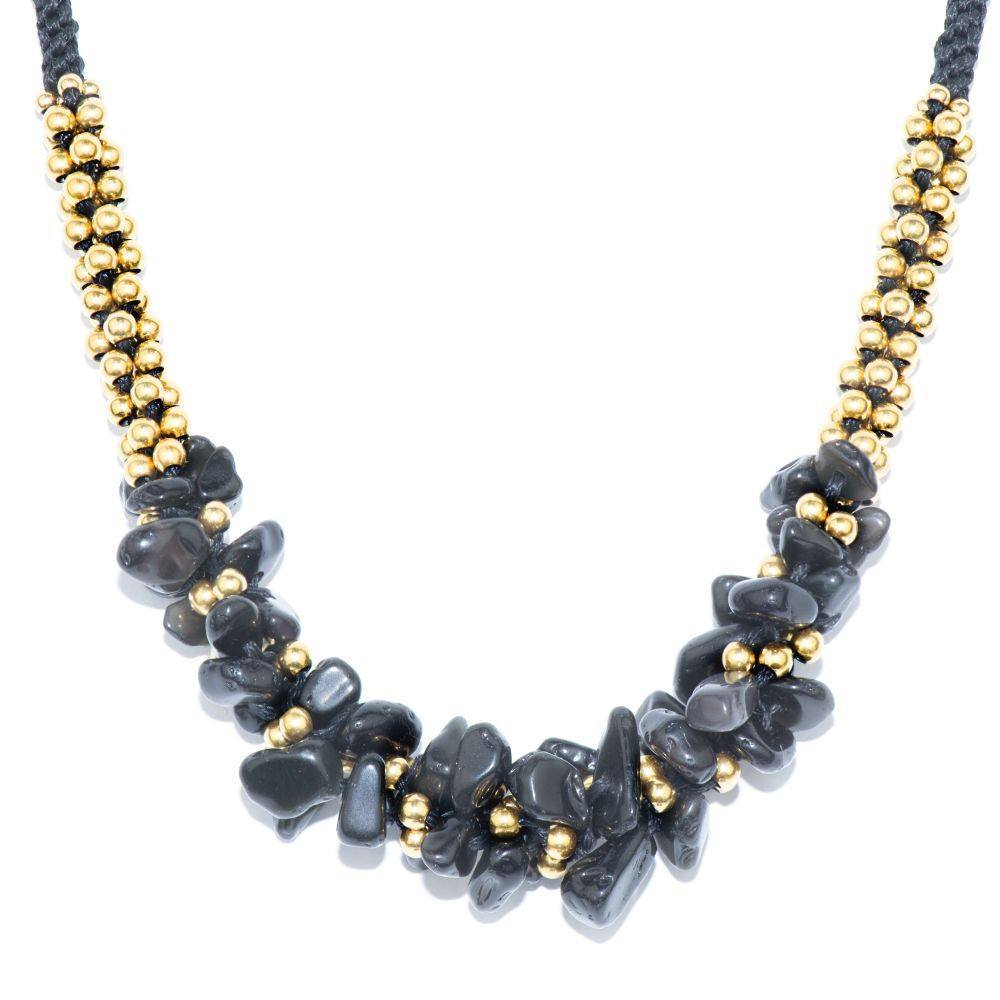 Collier Terra Bella Pierre Obsidienne Noire Or