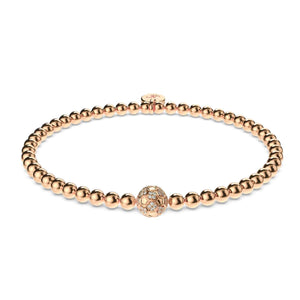 Goal | 18k Rose Gold | Crystal Soccer Ball Charm Bracelet