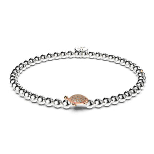 Tortuga | .925 Sterling Silver White & Rose Gold Vermeil | CZ Diamond Sea Turtle Bracelet