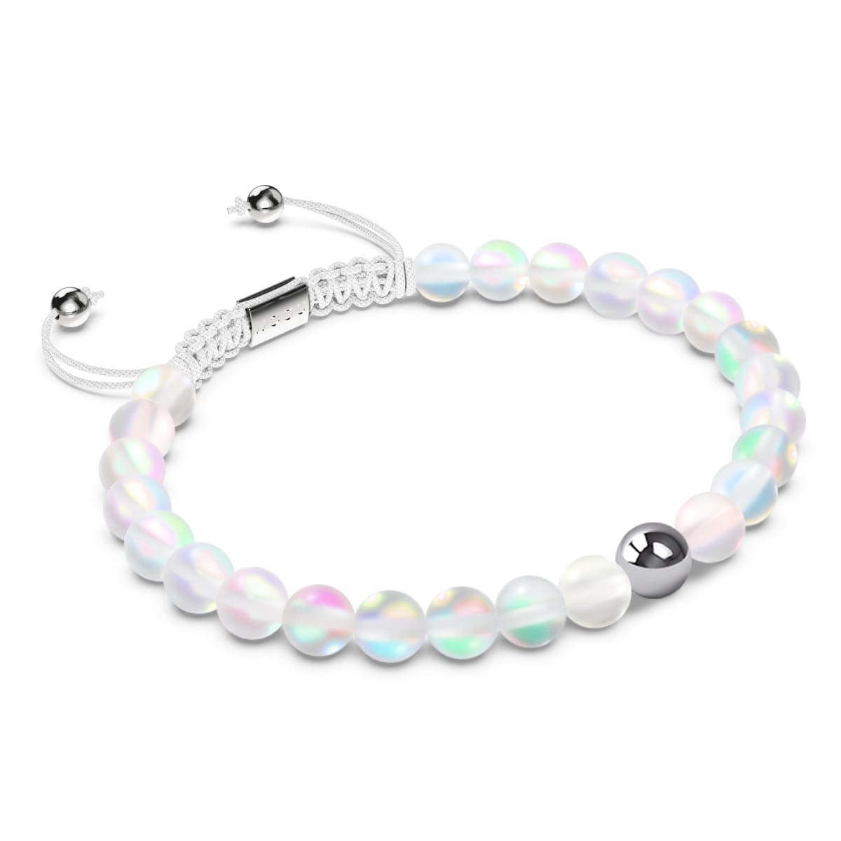 Rainbow White | Silver | Mermaid Glass Macrame Bead Bracelet