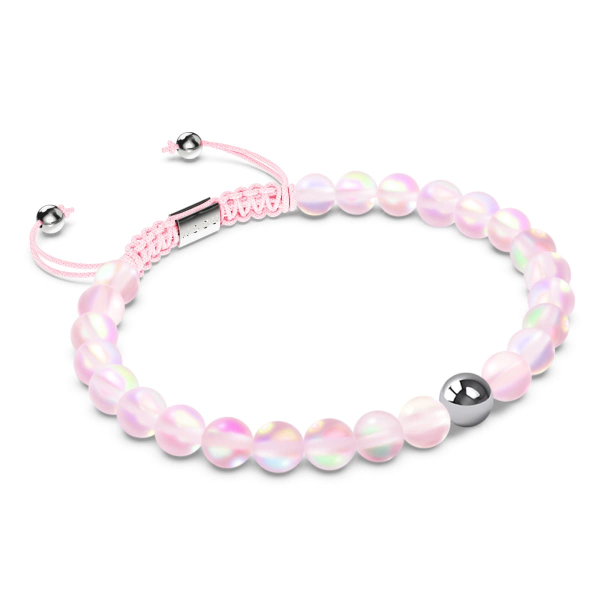 Pink | Silver | Mermaid Glass Macrame Bead Bracelet