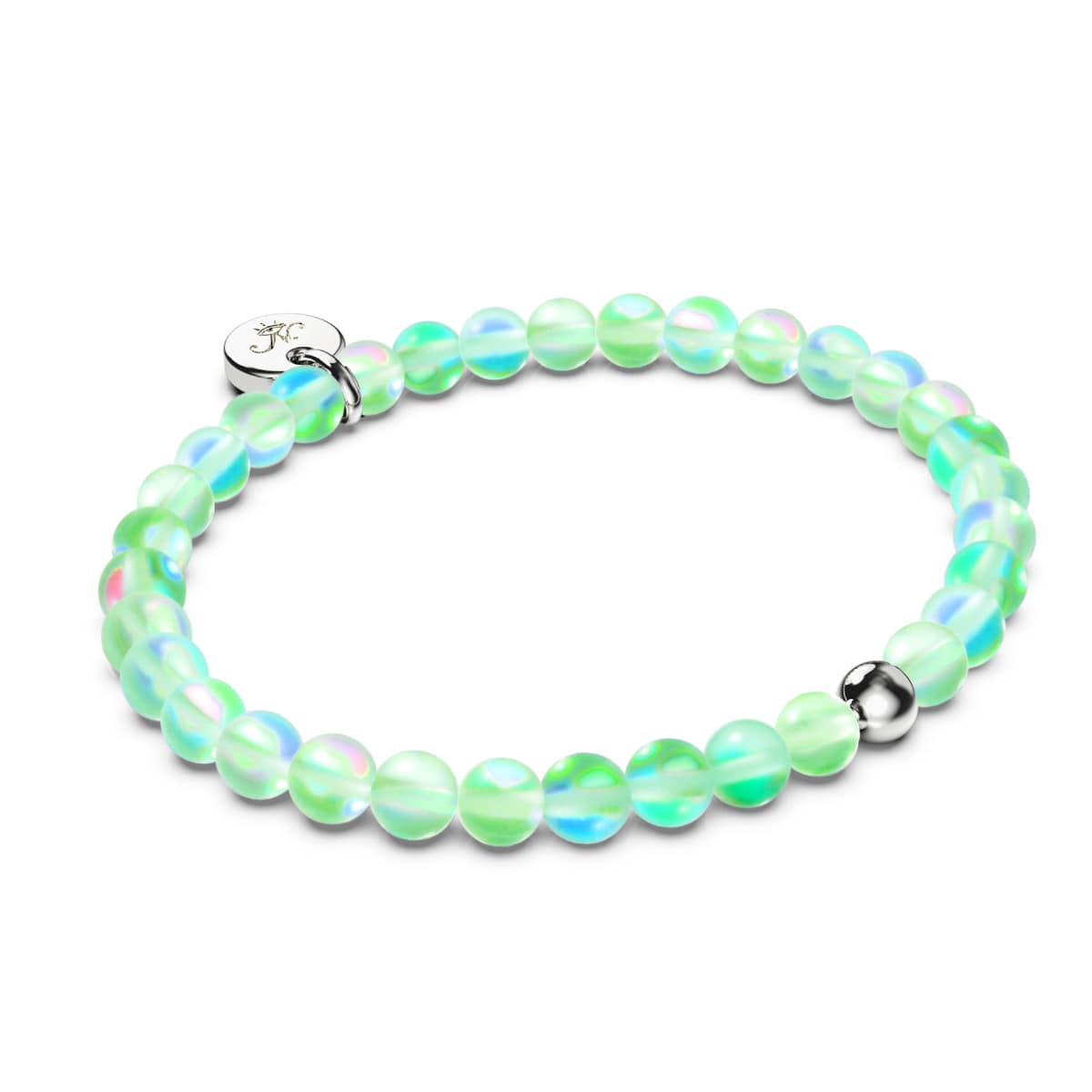 Emerald | Silver | Mermaid Glass Bead Bracelet