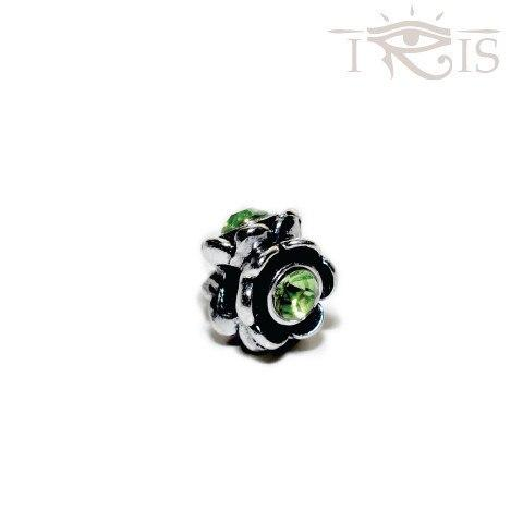 Francine - Green Crystal  Rose Flower Silver Filled Charm from IRIS