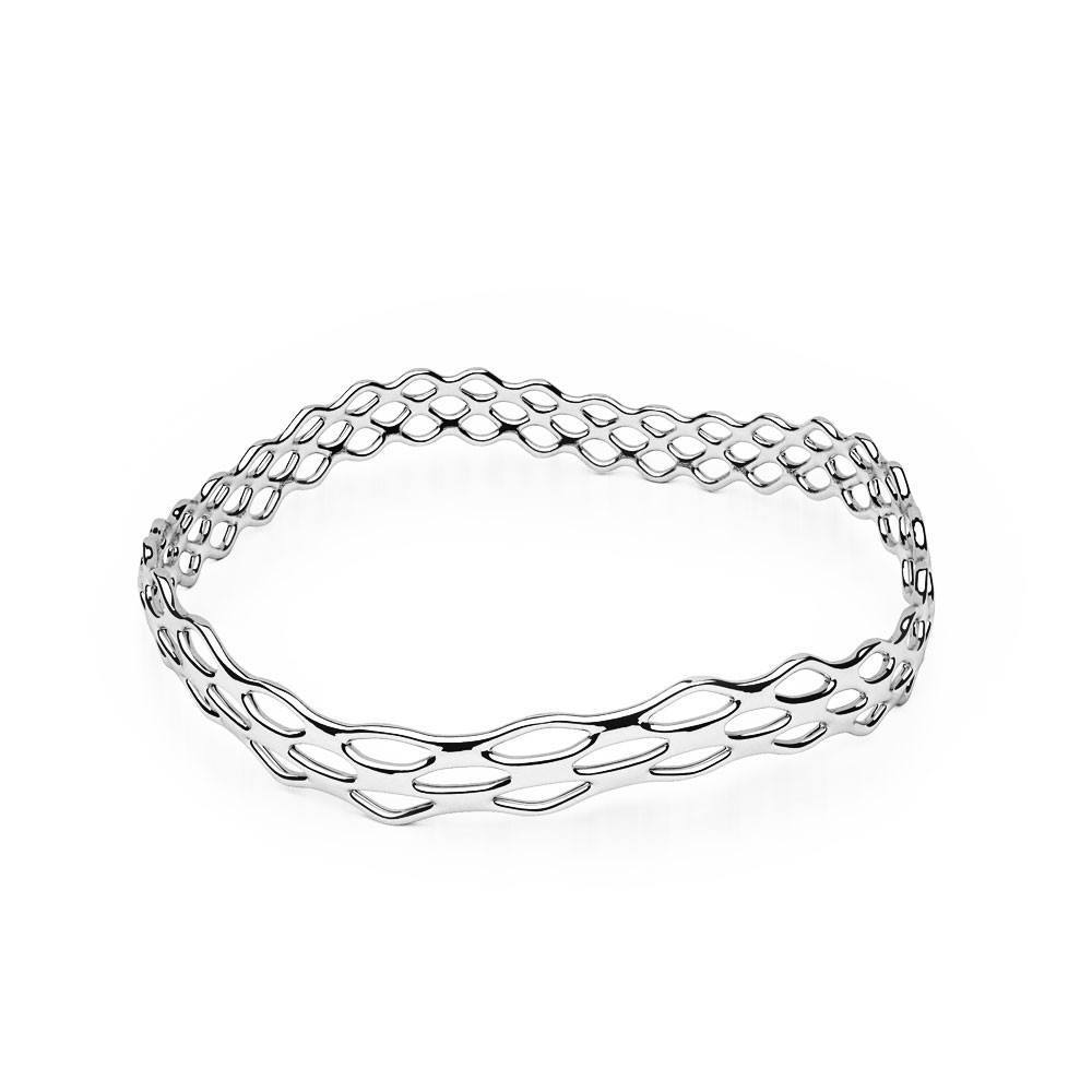 Le bracelet GRID | Slim Wave | Platine sterling