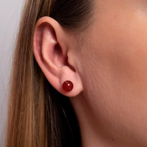 Carnelian | .925 Sterling Silver | Stone Stud Earrings