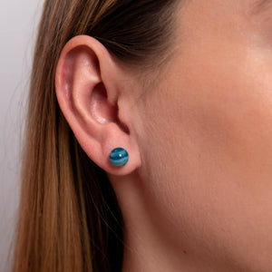 Blue Line Agate | .925 Sterling Silver | Stone Stud Earrings